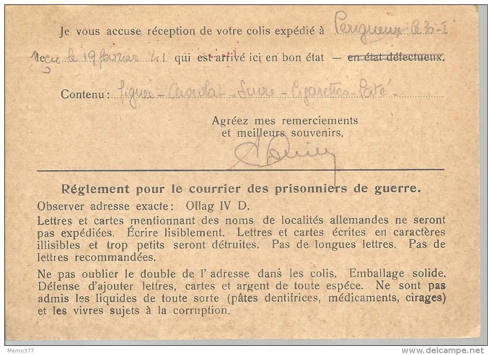 FRANCE   -==-   POSTKARTE  -==-  Courrier Des Prisonniers De Guerre  -==-  à Destination De PERIGUEUX  Zone Non Occupée - Cartes De Franchise Militaire