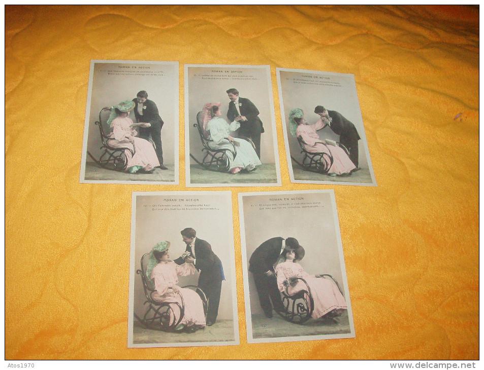 LOT DE 5 CARTES POSTALES ANCIENNES NON CIRCULEES DATE ?. / SERIE ROMAN EN ACTION. - Mujeres