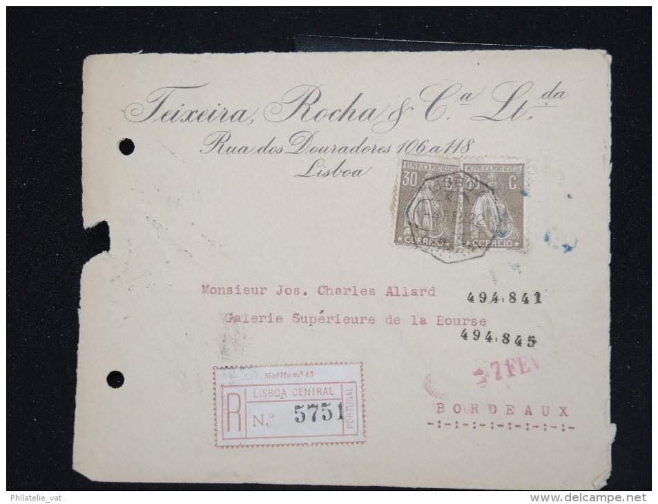 PORTUGAL - Enveloppe En Recommandée Pour La France En 1922 - A Voir - Lot P12578 - 1910-... République