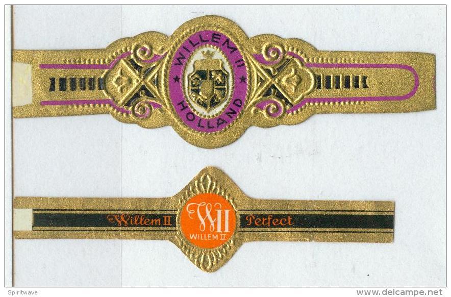 2 Alte Zigarrenbanderolen - Bauchbinden Der Zigarrenmarke: Willem II. - Bagues De Cigares