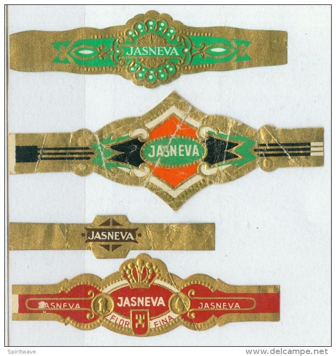 4 Alte Zigarrenbanderolen - Bauchbinden Der Zigarrenmarke: Jasneva - Bagues De Cigares