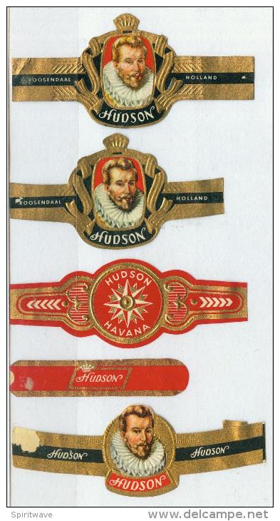 5 Alte Zigarrenbanderolen - Bauchbinden Der Zigarrenmarke: Hudson - Bagues De Cigares