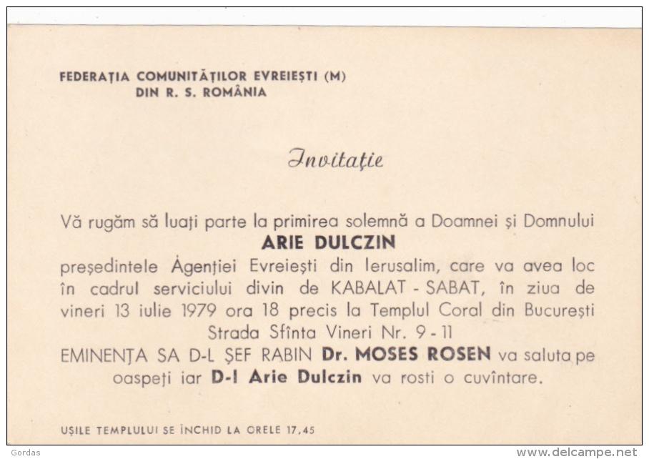 Romania - Judaica - Arie Dulczin - Rabin Moses Rosen - Other