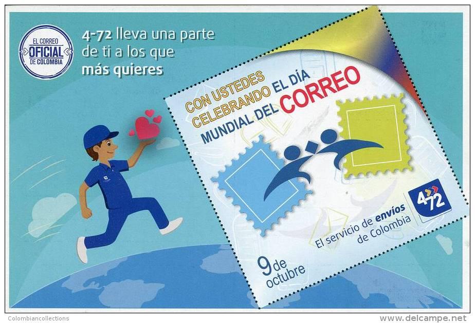 Lote PEP920, Colombia, Postal, Postcard, 4-72, Dia Mundial Del Correo, World Post Day - Colombia