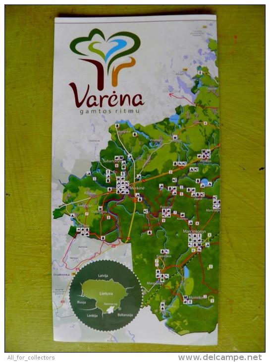 Varena Region Tourism Routes Map Lithuania, 3 Scans - Karten