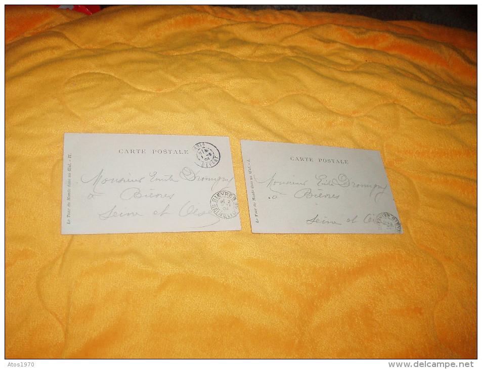 LOT DE 2 CARTES POSTALES ANCIENNES DE 1904. / ZUT JE RENTRE, LE MONDE CONNAIS PAS TANT PIS.../ CACHETS + TIMBRE - Other