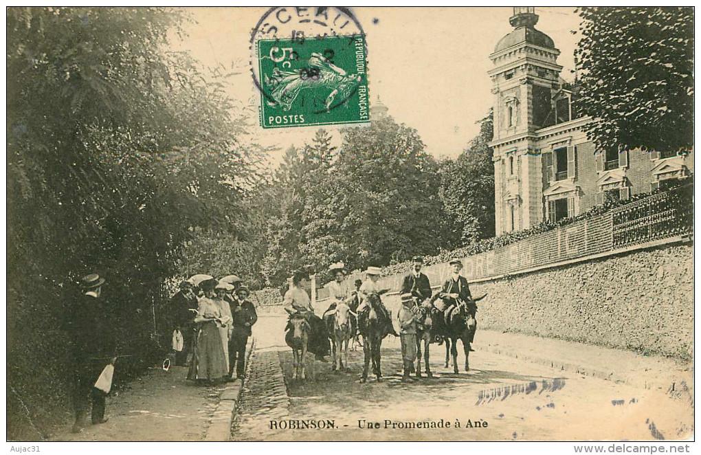 Dép 92 - Animaux - Anes Montés - Robinson - Une Promenade à Ane - état - Francia