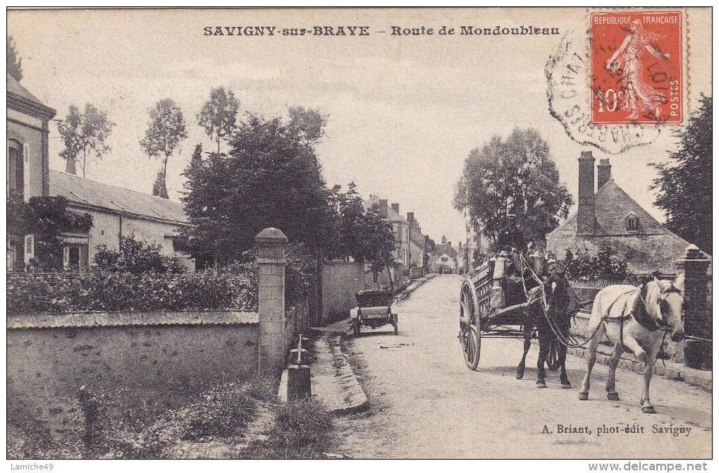 41 SAVIGNY SUR BRAYE Charrette Du Laitier Route De MONDOUBLEAU ( Attelage Avec Cheval ) Circulée Timbrée - France
