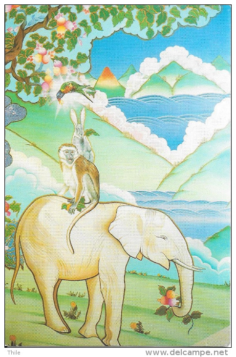 Les 4 Amis - Peinture De C. Guillemin - Fresque Du Temple De Kagyu Ling - La Boulaye - éléphant - Singe - Lapin - Bouddhisme
