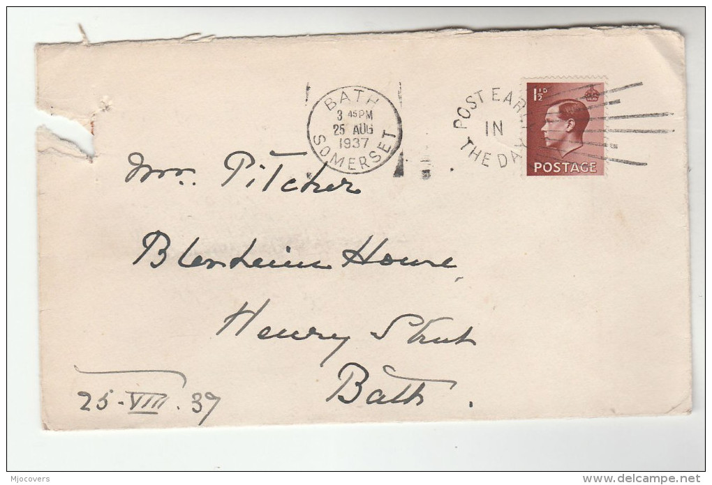 1937 Bath GB E8 Stamps COVER SLOGAN Pmk POST EARLY IN THE DAY Eviii - 1902-1951 (Kings)