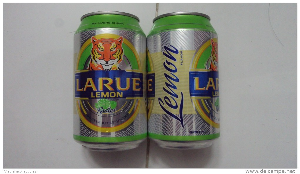 A Vietnam Viet Nam Larue LEMON Beer 330ml Can - New Product Just Launched Since Jul 2015 / Opened By 2 Holes - Cannettes