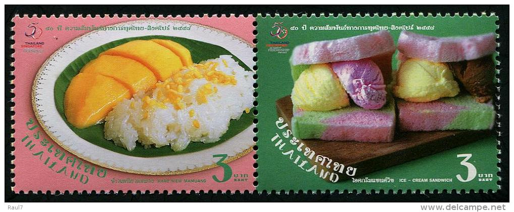 THAÏLANDE 2015 - Cuisine Thaï, 50e Ann Des Rélations Avec Singapore - 2val Neufs // Mnh - Thailand