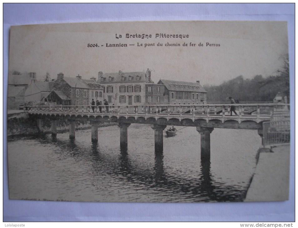 22 - CPA - LANNION - Pont Du Chemin De Fer De Perros - Belle Carte ANIMEE - Lannion