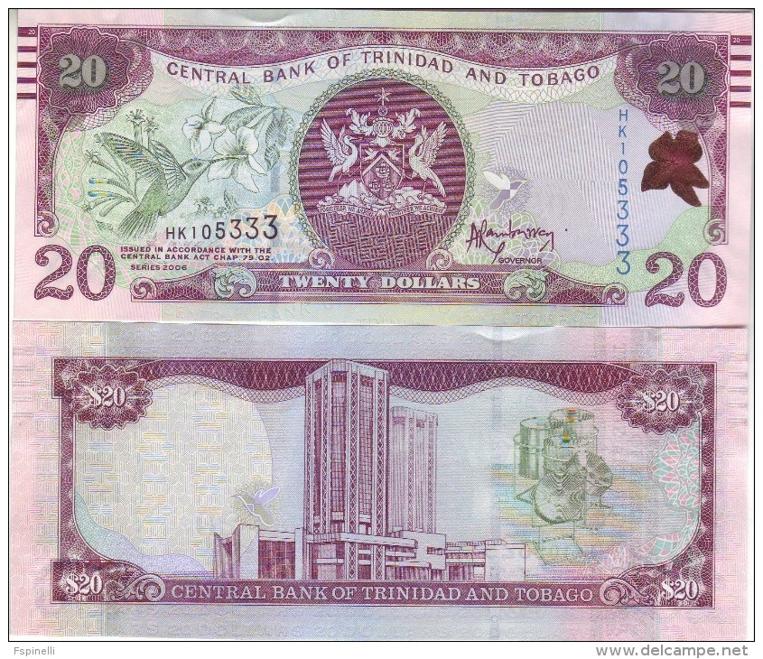 TRINIDAD & TOBAGO  New 20 Dollars ( Added Features For Blinds )  Issued 2015  Pnew - Trinidad & Tobago