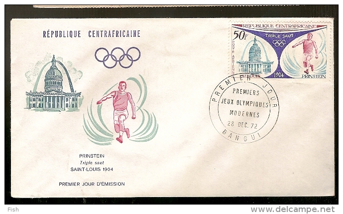 Central African Republic  & FDC Prinstein, Triplo Salto, Saint Louis, Jogos Olímpicos 19004, Bangui 1972 (112) - Summer 1904: St. Louis