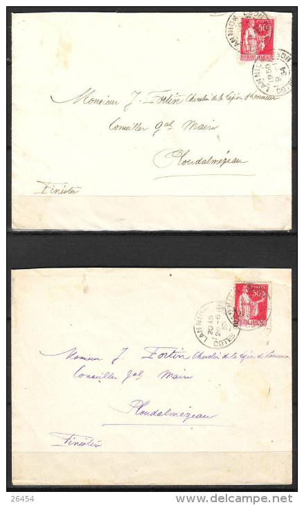 Lot De 2 Lettres De LANNION Cotes Du Nord  1934 Et 1935  Pour PLOUDALMEZEAU Finistere - 1932-39 Peace