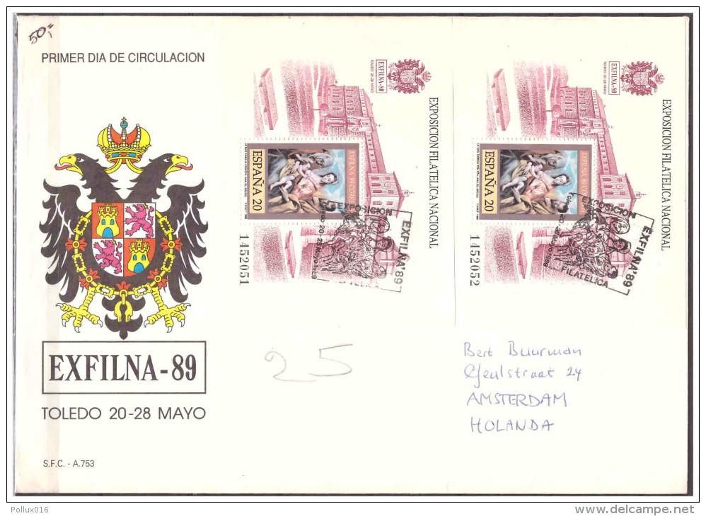 Espana / Spain 1989 FDC Stamp Exhibition Exfilna 89 S/S - 1931-Hoy: 2ª República - ... Juan Carlos I