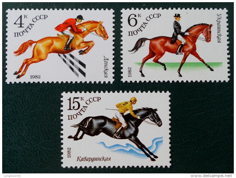 ELEVAGE DE CHEVAUX DE SPORTS EQUESTRES 1982 - MI 4881/83 - MI 5148/50 - 1923-1991 USSR