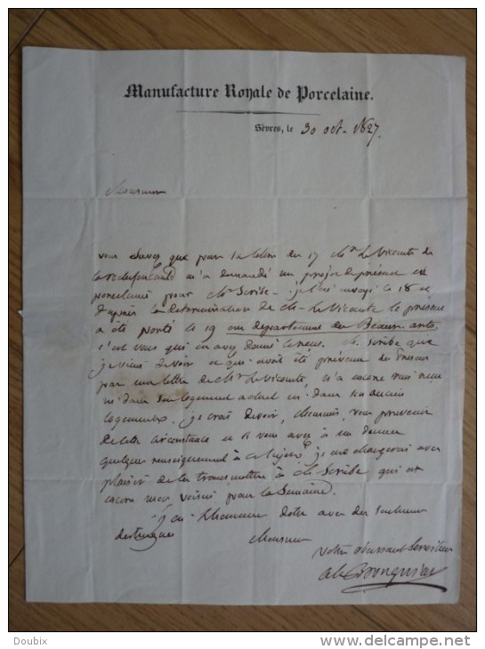Alexandre BRONGNIART (1770-1847) Minéralogiste. PORCELAINE De Sèvres - Manufacture Royale - AUTOGRAPHE - Autographes