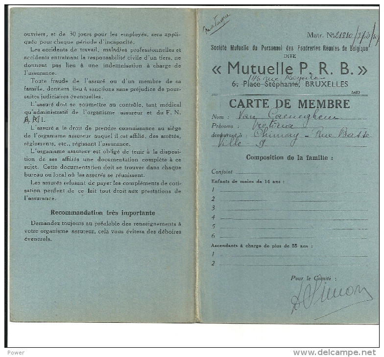 BRUXELLES   MUTUELLE P R B  Carte De Menbre  VAN CAENEGHEM VICTORIA  .... - Royaume-Uni