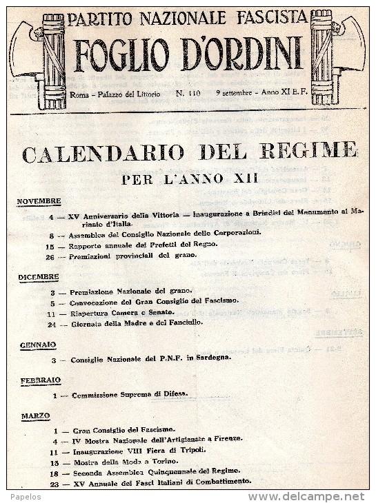 PARTITO NAZIONALE FASCISTA - FOGLIO D´ORDINI -   CALENDARIO DEL REGIME - Documents