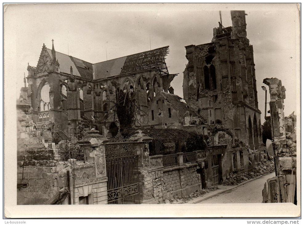 Photographie Originale - Vue De Profil De La Cathédrale De Soissons - Guerre, Militaire