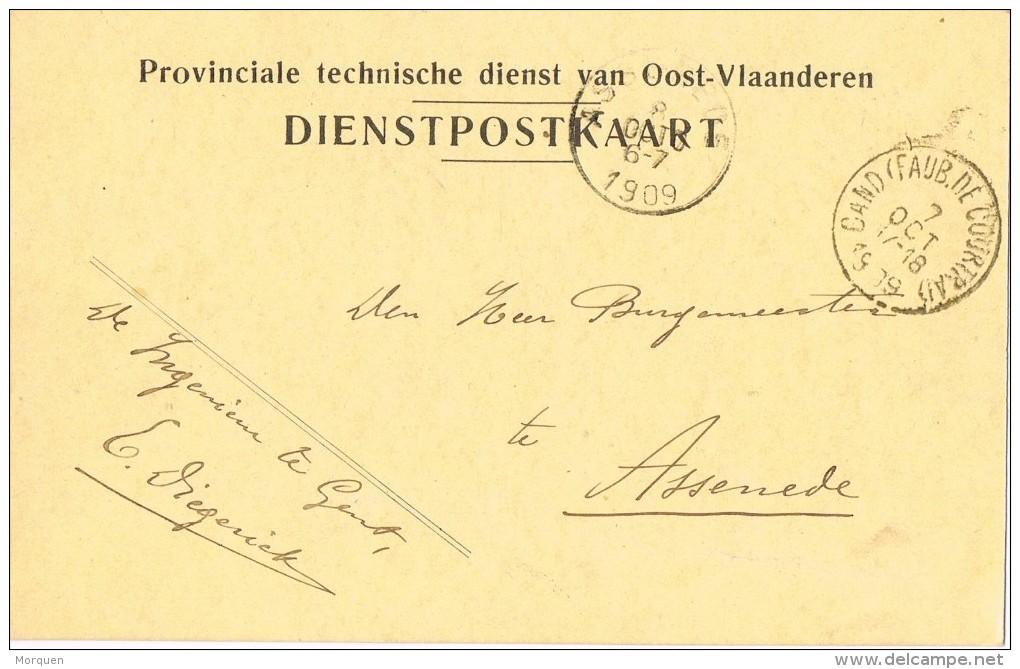 15739. Tarjeta Dienst. Franchise Provinciale Technische GAND Faub. De Courtrai (belgien) 1909 - Bélgica