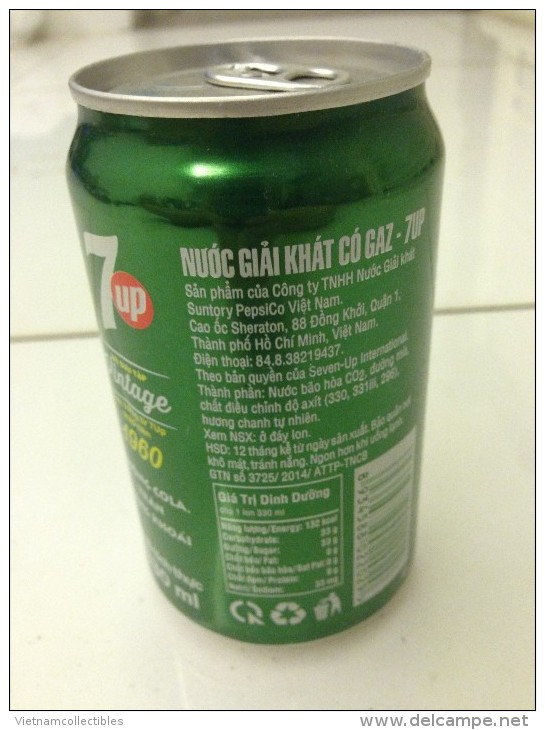 Vietnam Viet Nam Pepsi 7 Up 330ml Can - Vintage Design In 2015 / Opened By 2 Holes - Cannettes