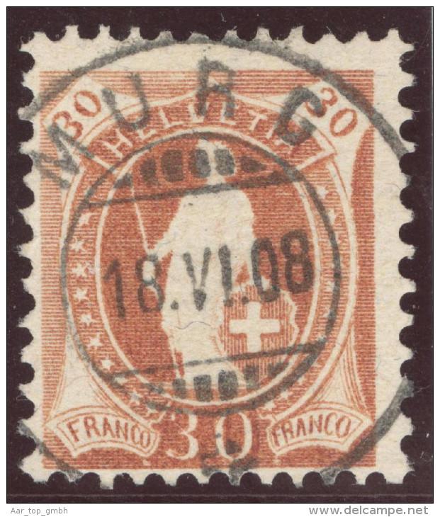Heimat SG Murg 1908-06-18 Vollstempel Auf Zu#96B Stehende Helvetia - 1882-1906 Armoiries, Helvetia Debout & UPU