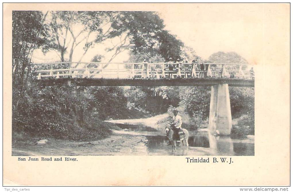 Antilles - Trinitad - San Juan Road And River (âne) (timbre Trinitad HalfPenny) - Trinidad