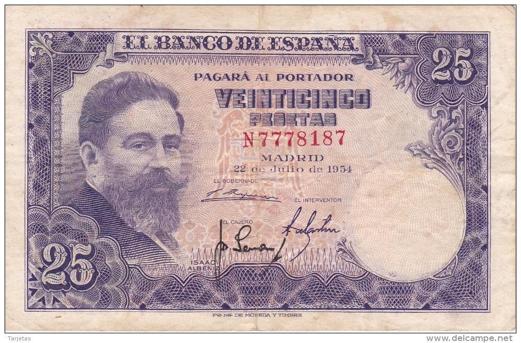 BILLETE DE ESPAÑA DE 25 PTAS DEL AÑO 1954 ISAAC ALBENIZ  SERIE N - [ 3] 1936-1975 : Régence De Franco