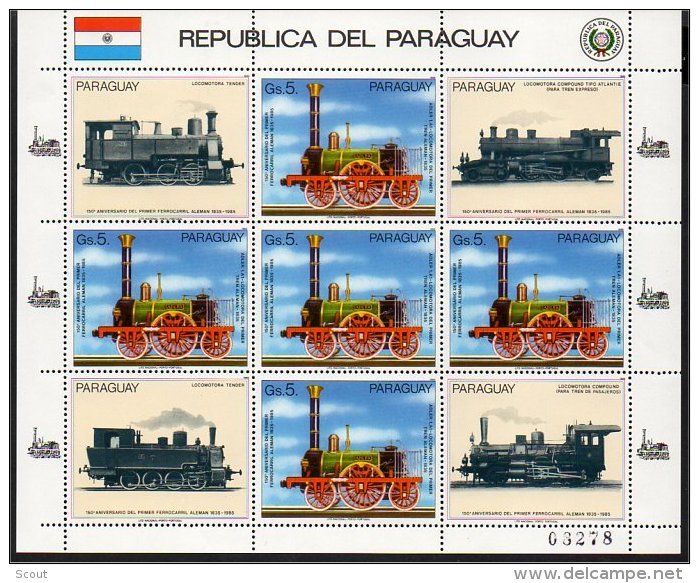 PARAGUAY 1985 TRENI TRAINS BF Da 5 Valori MNH ** - Treni