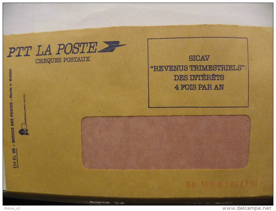Enveloppe CCP Recto SICAV Intérêts  Verso Vierge - Post