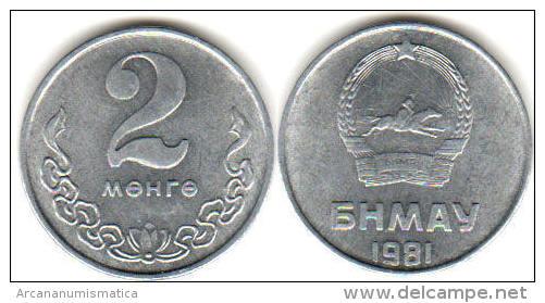 MONGOLIA  2 MONGO  1.981  ALUMINIO  KM#28  SC/UNC    T-DL-11.410 - Mongolie