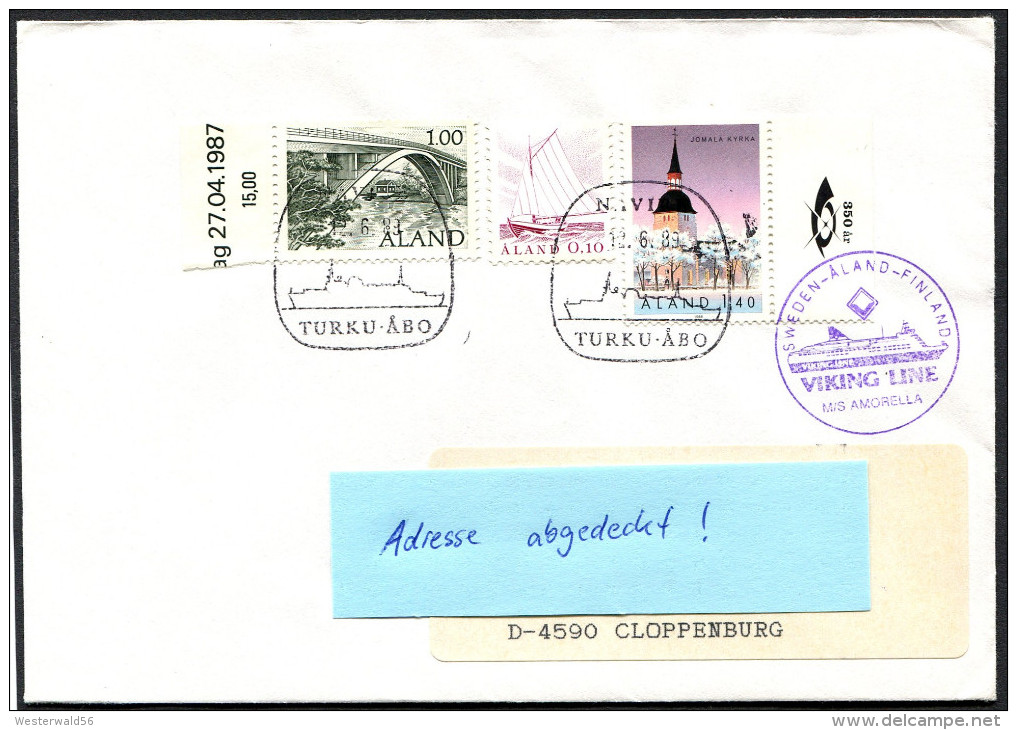 (1546) Aland Schiffspost - VIKING LINE - M/S AMORELLA, Gest. 12.6.89 NAVIRE Turku - Abo, Kirche Jomala - Aland