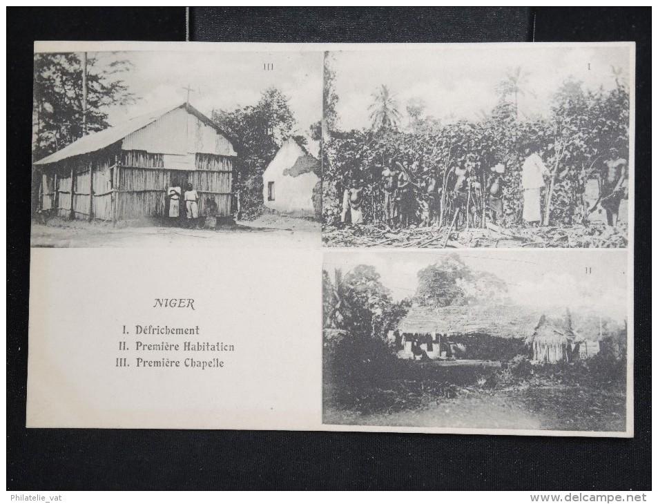 """NIGER - CP """"défrichement, 1ere Habitation,1ere Chapelle """" - Lot N° 10057 - Niger"""