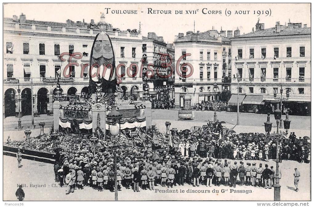 (31) Toulouse - Retour Du XVIIéme Corps - 1919 - Soldats Militaires Militaria - 2 SCANS - Toulouse