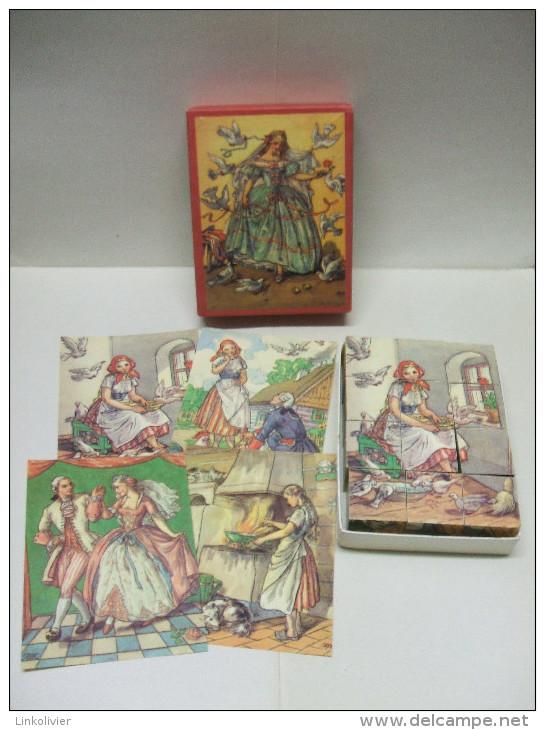 Ancien Puzzle JEU De 12 CUBES En BOIS Complet : CENDRILLON - Jouets Anciens
