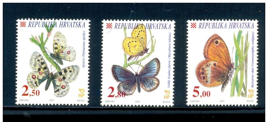 CROATIA * SERIE 3v 2001 BUTTERFLIES BUTTERFLY MARIPOSA PAPILLON * MNH - Croatie