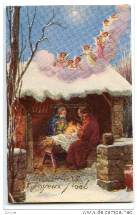 Joyeux Noël - Une Nuée D´anges Se Pose Sur La Crèche Avec Jésus, Joseph Et Marie - Non écrite 2 Scans - Noël
