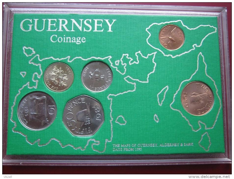 Guernsey 1979 1981 6 Coin Set  Collection UNC: 1 Penny - 1 Pound - Guernsey