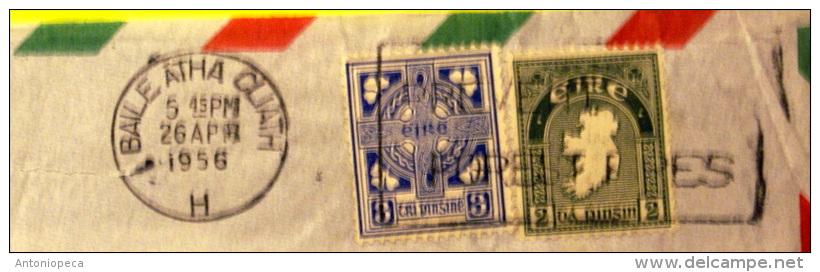IRLANDA 1956 AEROGRAMMA BEN AFFRANCATO  VIAGGIATO - 1949-... Repubblica D'Irlanda