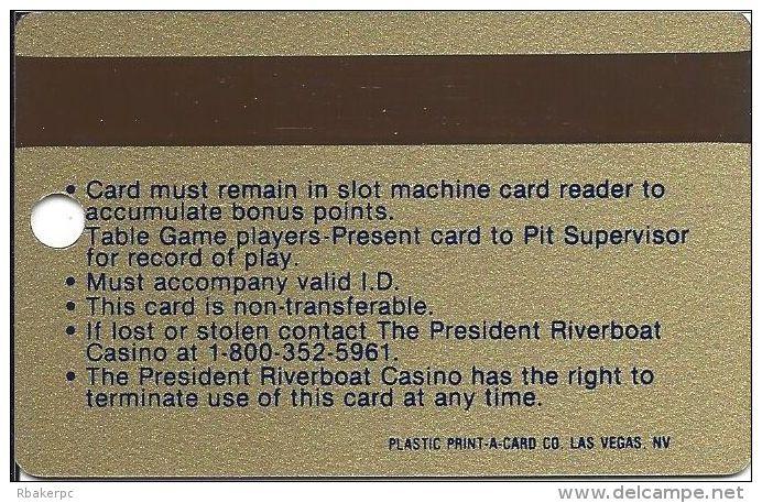 President Casino Davenport IA - 1st Issue Slot Card - Casino Cards
