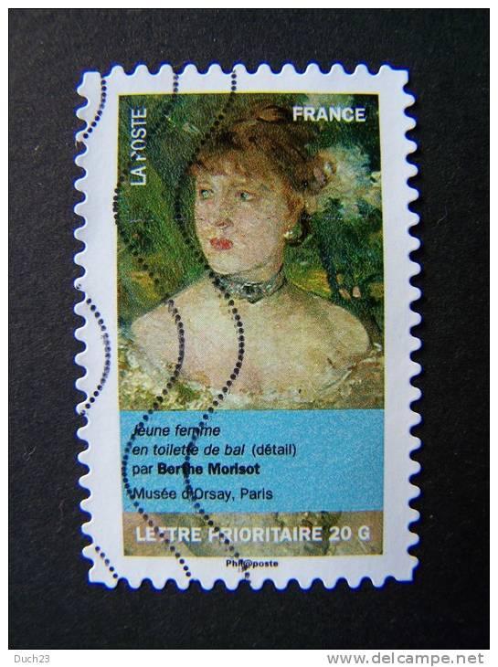 FRANCE OBLITERE 2012 N° 674  BERTHE MORISOT SERIE DU CARNET PORTRAITS DE FEMMES DANS LA PEINTURE AUTOCOLLANT ADHESIF - France