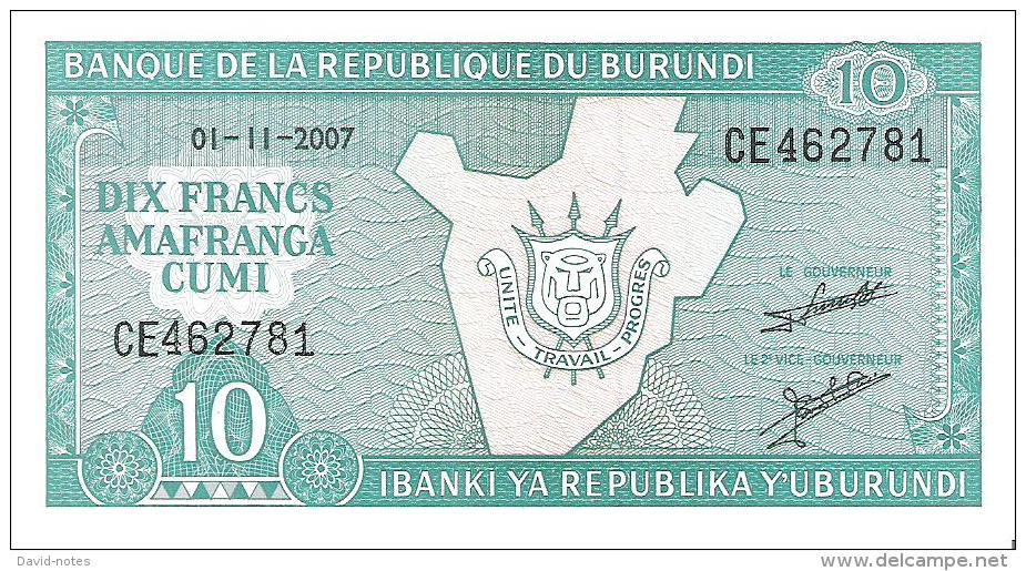 Burundi - Pick 33e - 10 Francs 2007 - Unc - Burundi