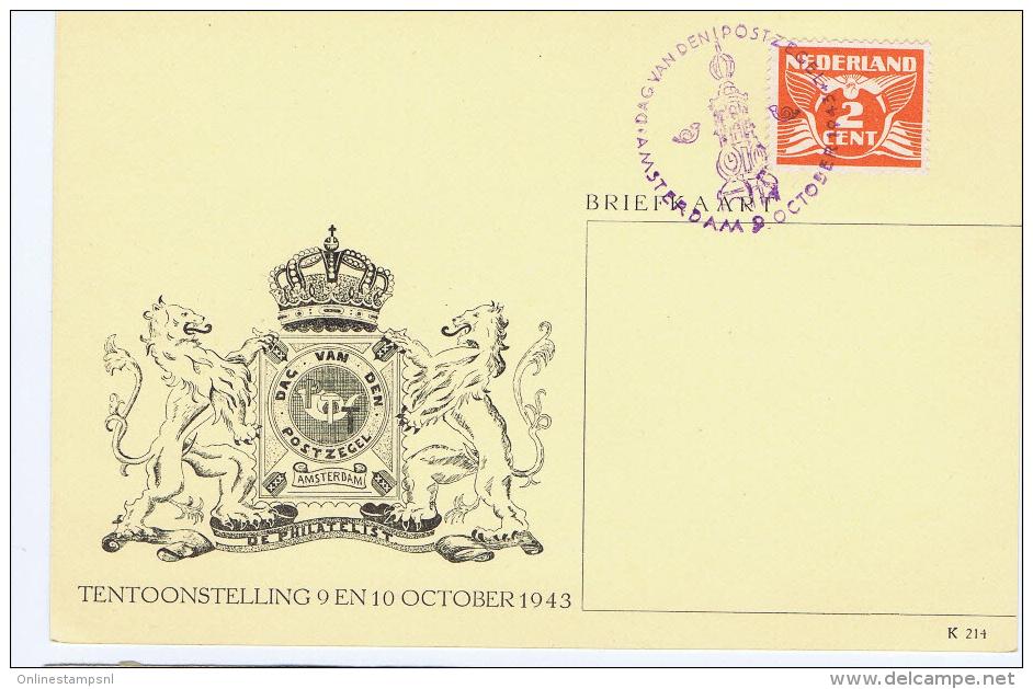 Netherlands: 1943 Dag Van De Postzegel Briefkaart Met Speciaal Stempel, Day Of Stamps, General Picture - Brieven En Documenten