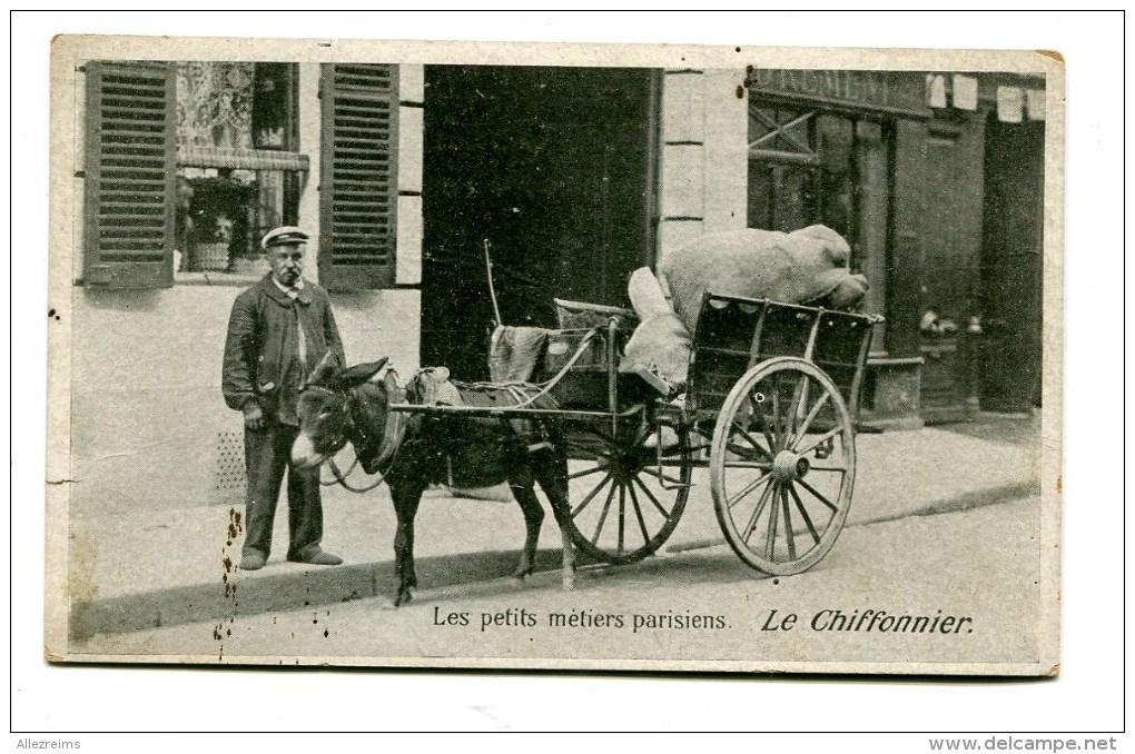 CPA  75  :  Les Petis Métiers Parisiens   LE CHIFFONNIER Avec Attelage D'âne        A  VOIR  !!! - France