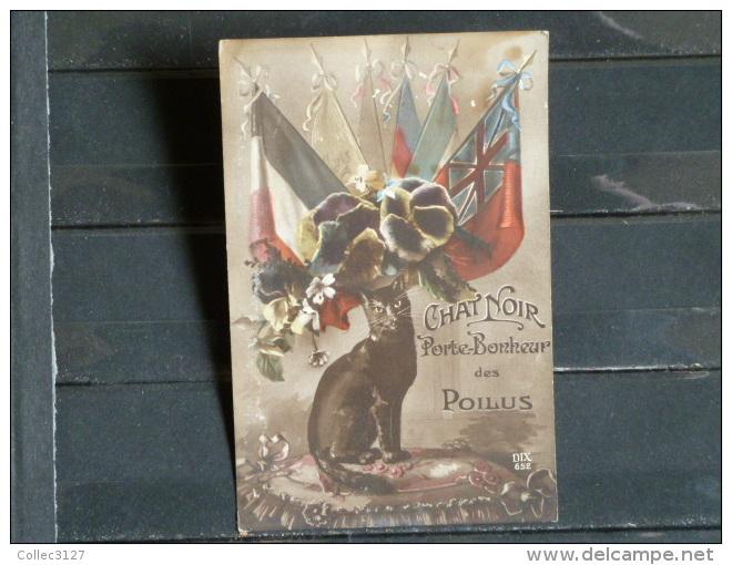 Guerre De 1914-18 - Carte Postale De Poilu - Chat Noir Porte-Bonheur Des Poilus  - Scan Recto Verso - Guerre 1914-18