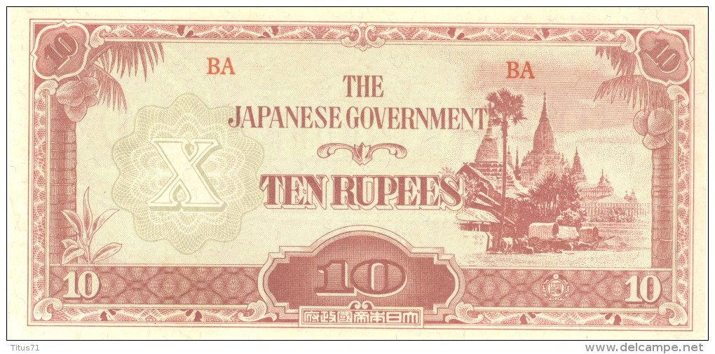 10 Roupies / Ten Ruppes - The Japanese Government - Burma / Birmanie - 1942 1944 - Banknotes