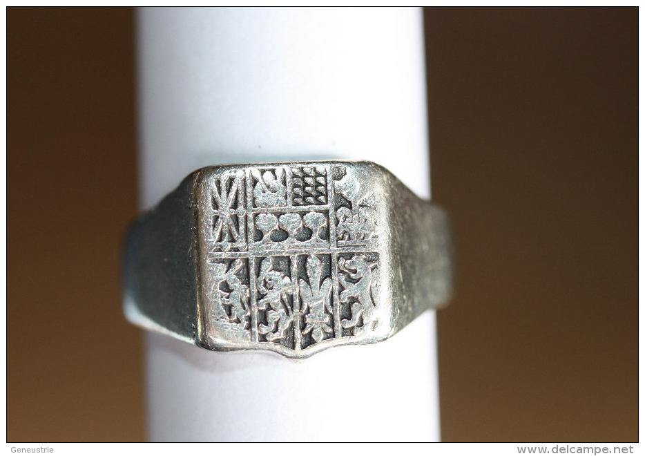 Bague Ancienne Argent Forme Chevalière Armoiries Du Pays Basque - Silver Ring - Anillos